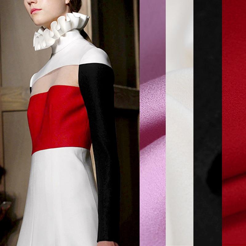 145 CM de ancho 390 G/M peso sólido Color blanco negro púrpura rojo lana Crepe tela para otoño primavera traje vestido pantalones de chaqueta de E818
