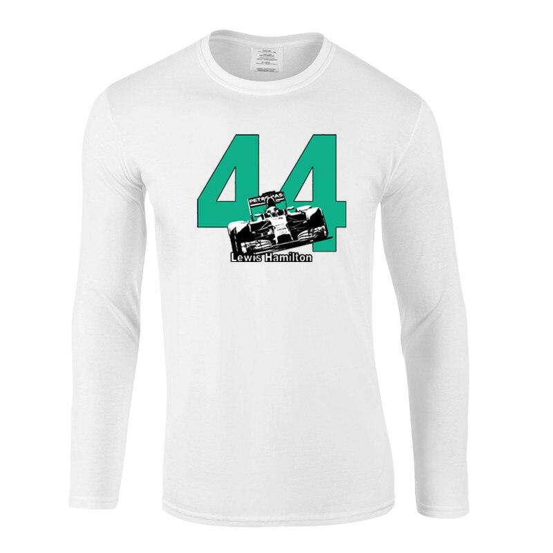 Camiseta divertida de Lewis Hamilton 44 F1 con diseño de coches de carreras para hombre, camisetas de talla grande con cuello redondo, ropa de calle a la moda, camisetas de manga larga de Hip-Hop