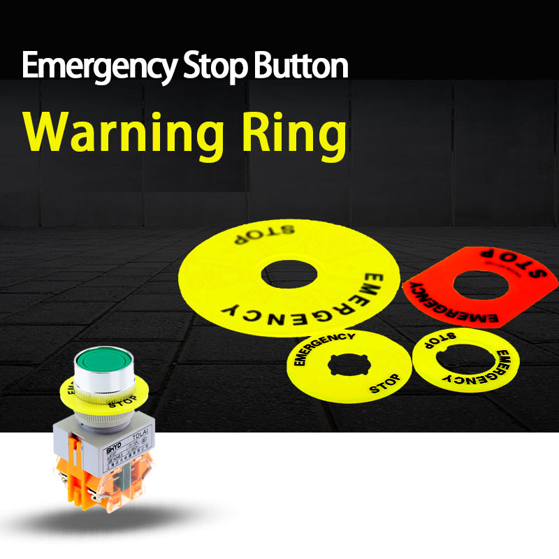 Montage loch 22mm notfall stop taste warnung ring 16MM quick stop taste schalter warnung ring zeichen