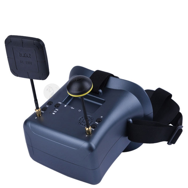 Fpv vídeo óculos exibir 4.3 polegada 40-ch duplo receptor embutido dvr e 3.7v 2000mah lipo-bateria para diy fpv quadcopter zangão
