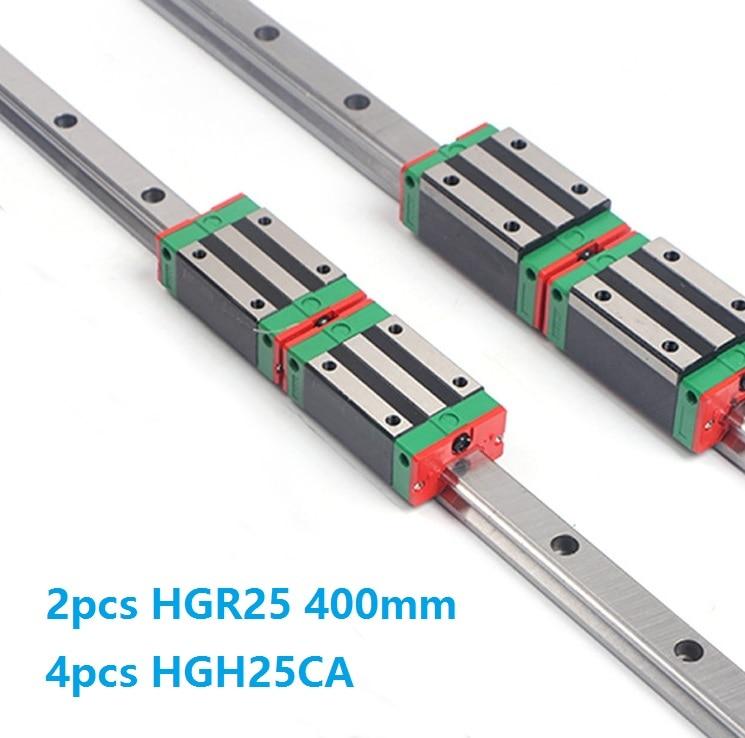 الصين صنع 2 قطعة الخطي دليل السكك الحديدية HGR25 -L 400 مللي متر + 4 قطعة HGH25CA أو HGW25CC الخطي انزلاق كتلة النقل CNC راوتر أجزاء