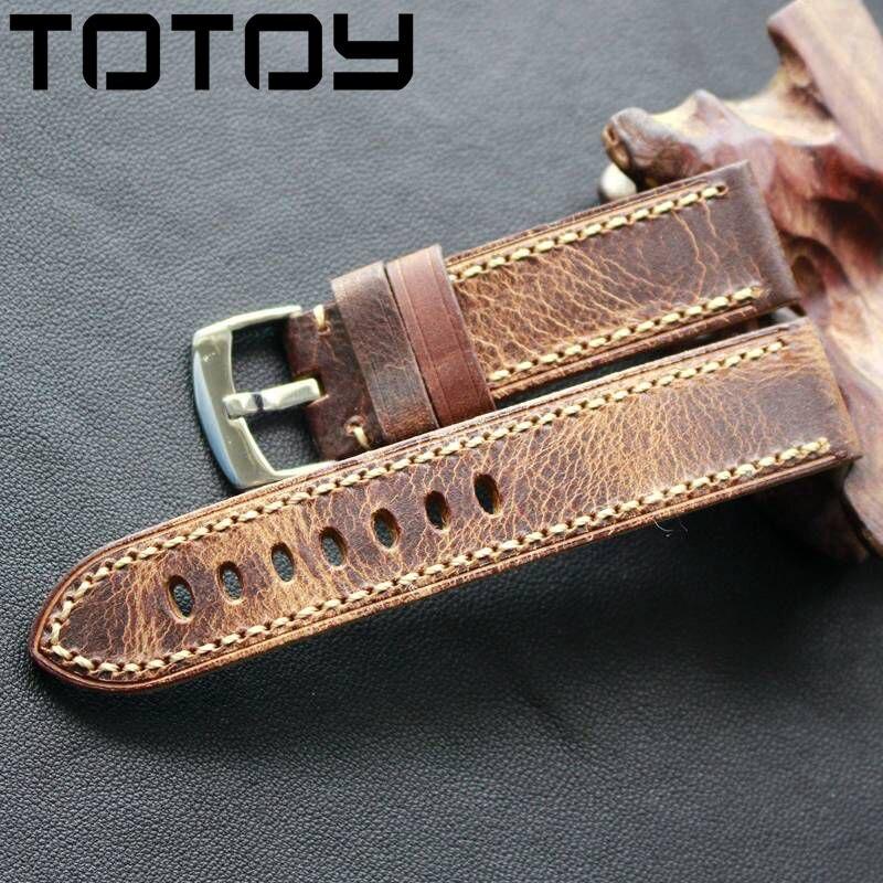 TOTOY Handmade Oleosa Retro Crazy Horse Couro Pulseiras 20 MM 22 MM Estilo Suave E Áspero, costura a mão de Couro Cinta