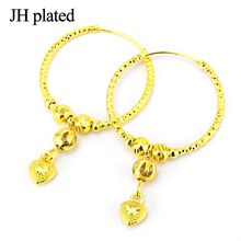 earings 2020 24K  Ball Earrings for Women/Girls Jewelry with Heart Ethiopian Africa,Arabia,Middle East Best Gift hoops gold