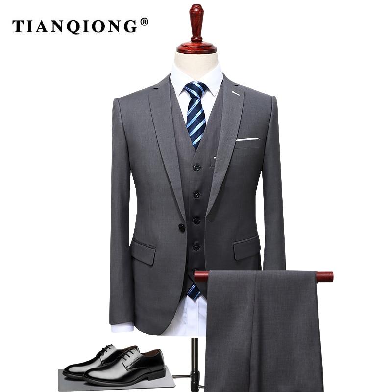 Мужской костюм-смокинг TIAN QIONG, костюм из 3 предметов (куртка + жилет + брюки) для свадьбы, большого размера 4XL, 2019