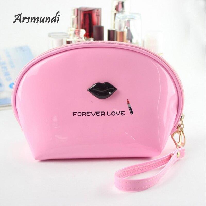 Arsmundi Mirror Leather Women Makeup Bag Beautician Necessaries Storage Bag Candy Color Waterproof C