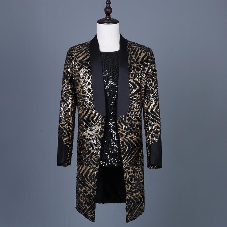 Men's leopard sequins personality long suit 2020 new bar nightclub rock collar dance costume custom wholesale