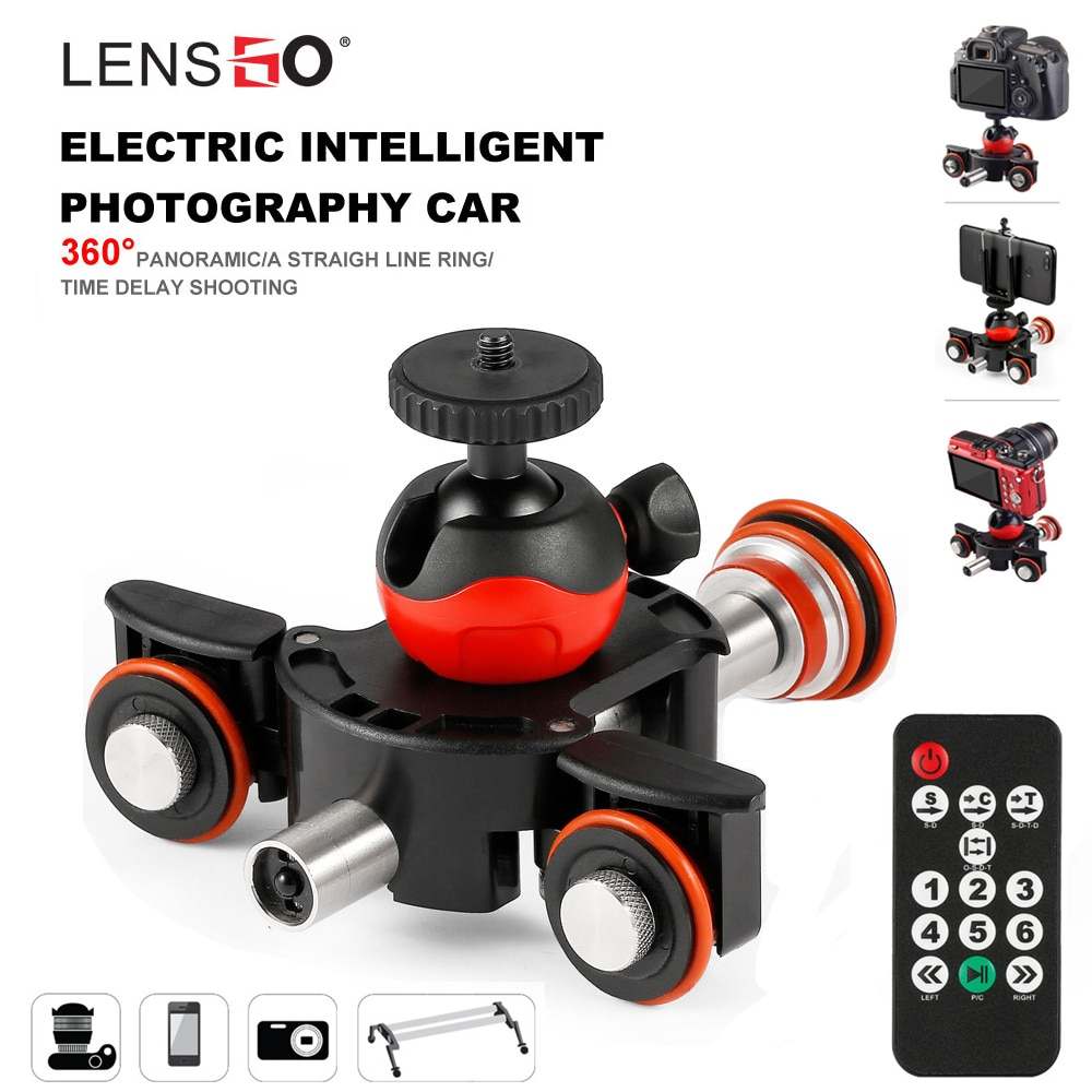 LENSGO-مسار كاميرا فيديو بمحرك دوللي ، محرك منزلق كهربائي ، شاحنة دوللي ، لكاميرا نيكون كانون سوني ، كاميرا DSLR ، 3 عجلات ، دوللي