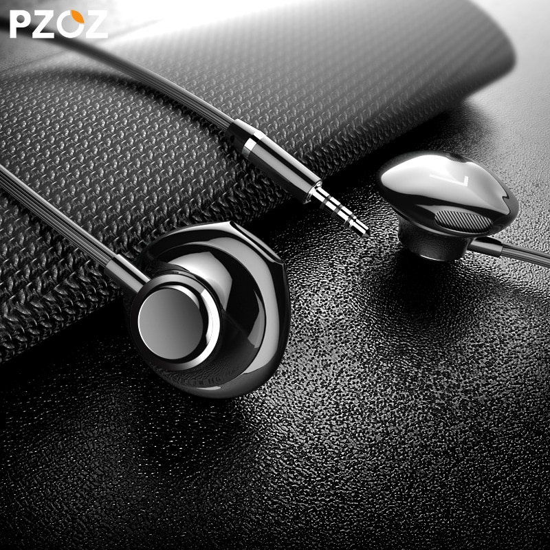 Стереонаушники PZOZ с басами, игровые наушники, гарнитура, спортивные проводные наушники с микрофоном для iPhone, Xiaomi, телефона, компьютера