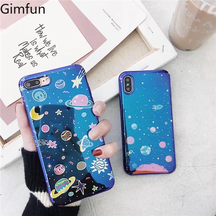 Gimfun Blue Shining Stars Space Glitter Tpu Silicone Phone Case for Iphone X XS XSMAX XR 7 6s 8 plus Soft Back Cover Fundas