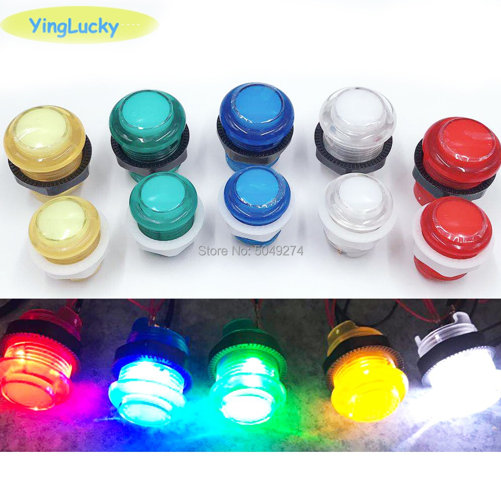 Yinglucky 1 pièces 33mm 28mm 24mm LED Arcade bouton poussoir Arcade bouton de démarrage interrupteur 5 V bouton lumineux accessoires darcade