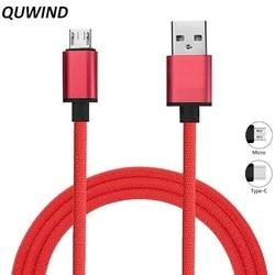 QUWIND Micro Usb Type C кабель для зарядки данных USB 1 м для iPhone 6 6S 7 8 X iPad Samsung HuaWei XiaoMi Android Phone