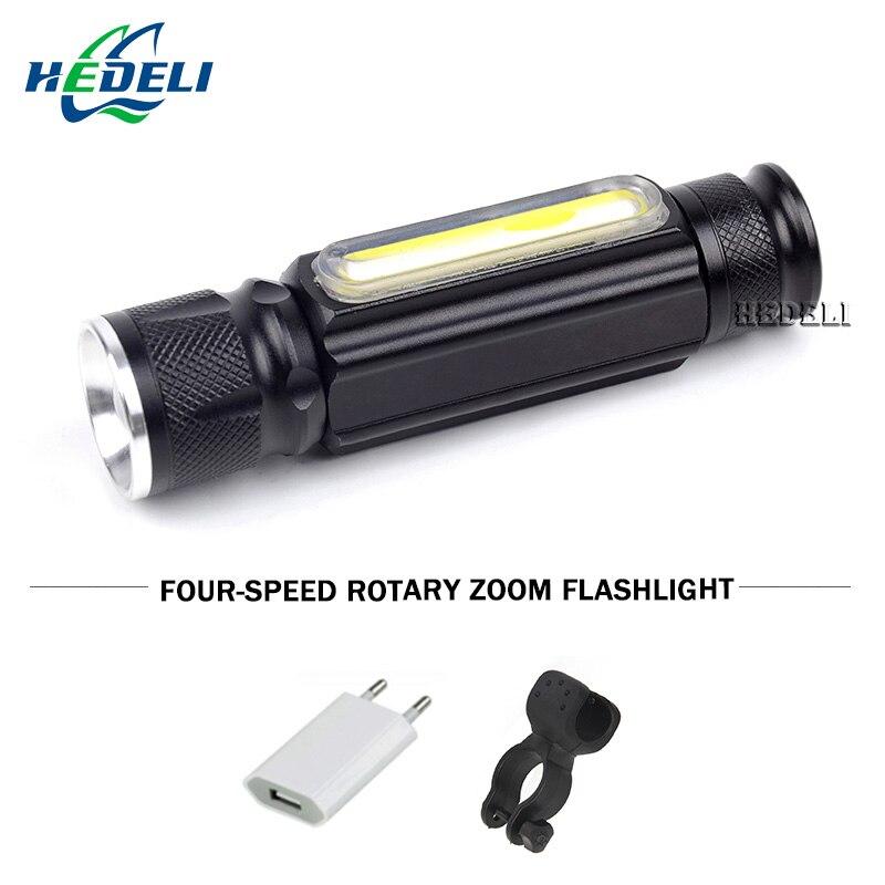 Portátil zoom impermeable linterna led xml-t6 USB COB luz de trabajo cargo lámpara lanterna LED linterna antorcha eléctrica con el imán