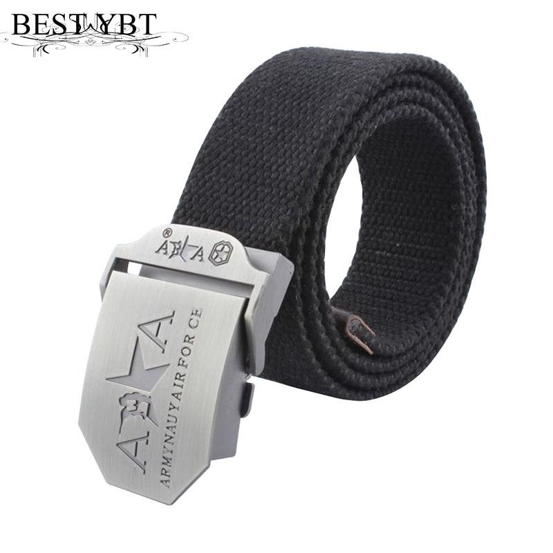 Best YBT Hot  Men Belt automatic buckle Outdoor thickening Belt Men casual Weave double A High quality Canvas cowboy belts