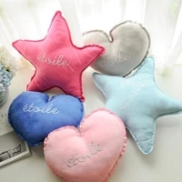 n ins cute five pointed star of love pillow candy solid color embroidered suede sofa bed chair cushions car girls