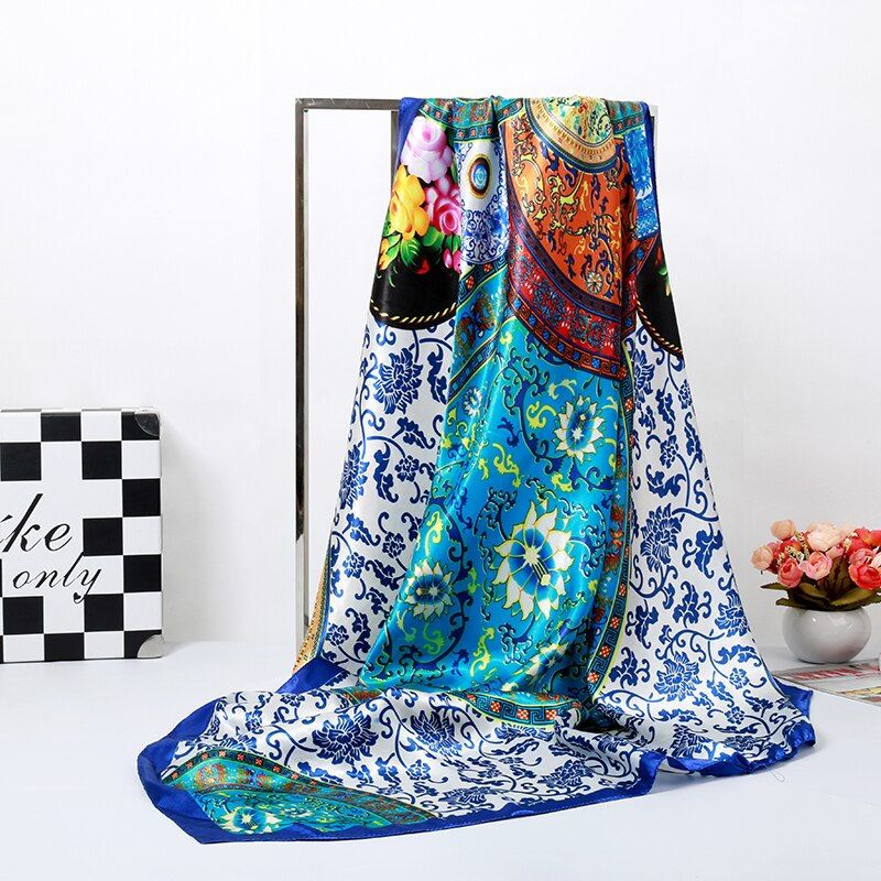 Bandanas, pañuelo, diadema, Hijab musulmán, estampado floral azul de lujo, pañuelo cuadrado de seda para mujer, calidad de marca, imitación de seda, chal satinado