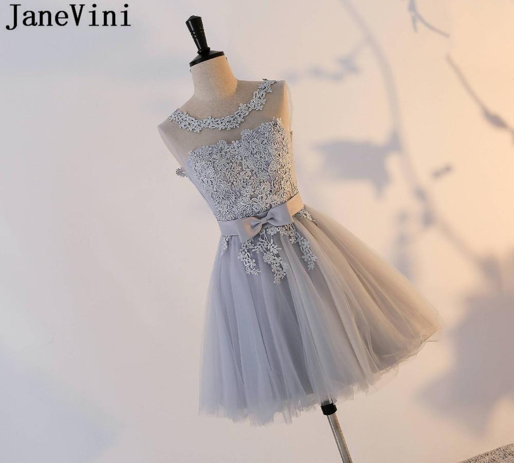 JaneVini elegante vestido para fiesta de boda gris de dama de honor vestidos sin mangas encaje barato baile dama de vestido de Honor de tul