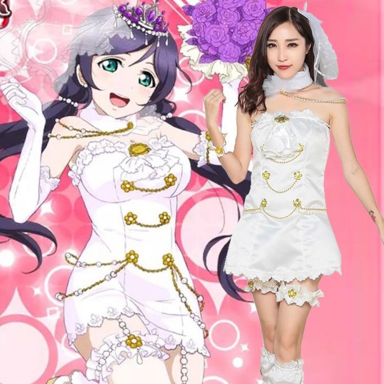 Love Live! White Valentine's Day Awakening Dress Nozomi Tojo Cosplay Costume + Head veil + Crown