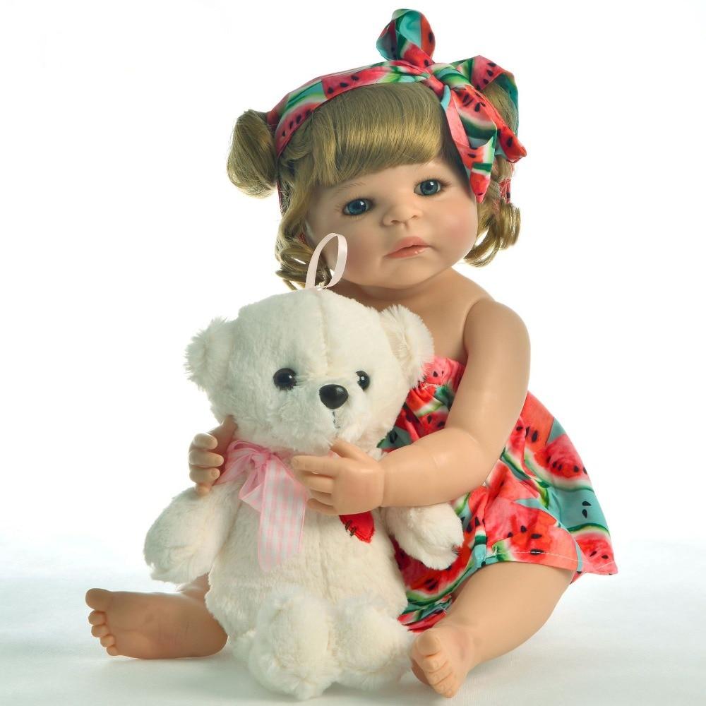 23'' Lifelike Reborn Baby Dolls Cute reborn toddler vinyl newborn princess silicone baby dolls alive child gift bebes reborn
