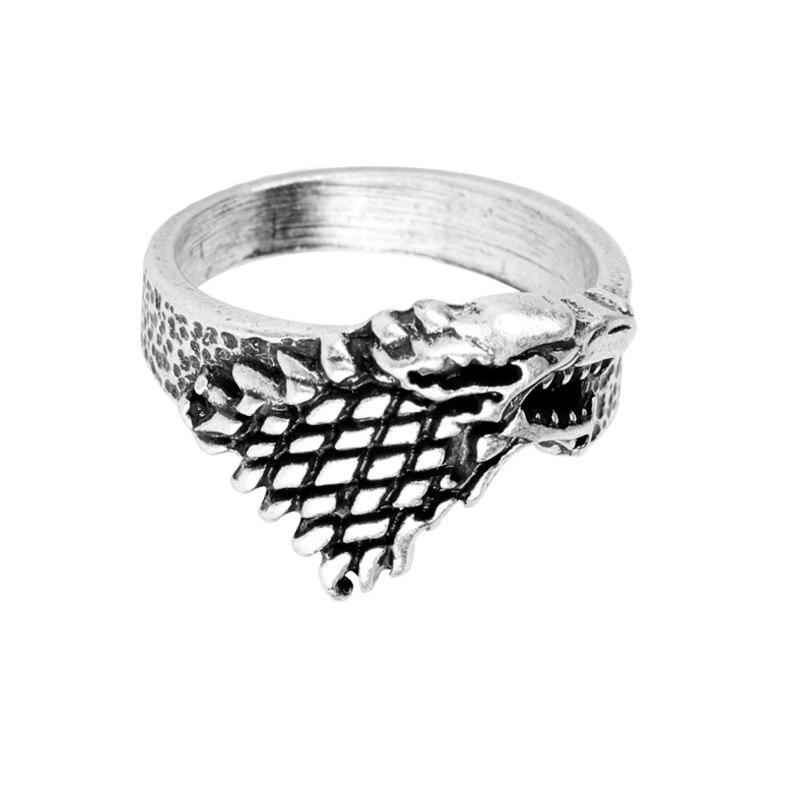 Anillo con cabeza de lobo de Game of Thrones, anillo para hombre, canción del hielo y fuego, insignia de familia descarnada, anillo, joyería punk genial para hombres, regalo