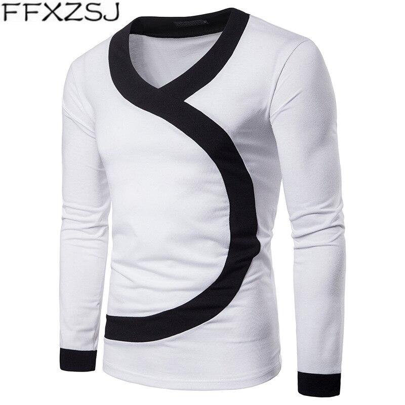 Marca FFXZSJ 2019, camiseta de otoño con cuello en V para hombre, camisetas y Tops deportivos casuales, jersey de manga larga, camiseta ajustada para hombre