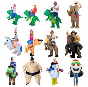 Inflatable Halloween Costume For Adult Kids Fan T-rex Gorilla Sumo Cow Horse Cowboy Unicorn Dinosaur Inflatable Costume