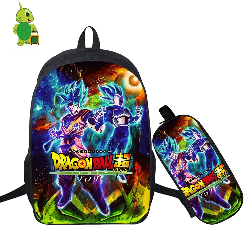 Dragon Ball Super Broly Goku Backpack 2 Pcs/Set School Bag for Teenage Boy Girl Students Laptop Backpack Pencil Case Travel Bags