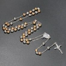 Alta calidad 6mm oro y plata cuentas de hierro rosarios Metal Rosario bolas collar catolicismo oración Cruz religiosa joyería