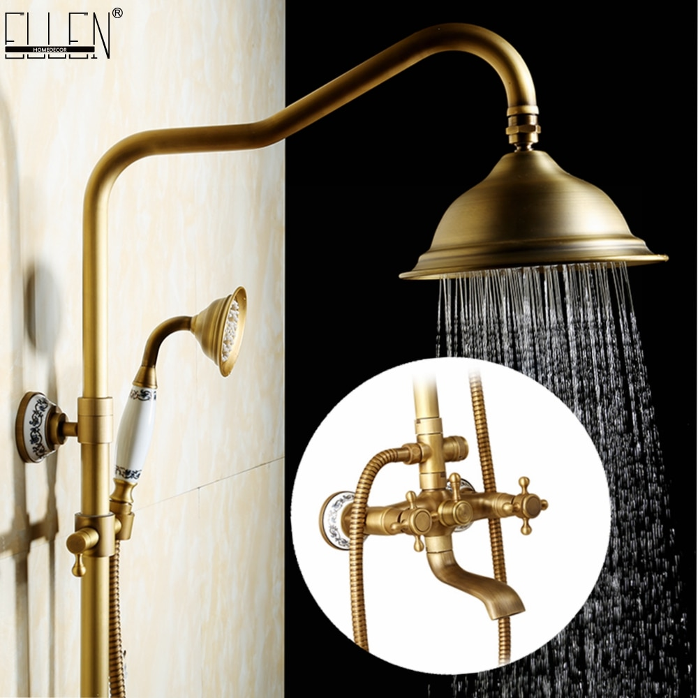 Antique Rain Shower Faucets Set with Hand Brass Wall Mounted Mixer for Bathroom Bath Luxury Rainfall EL4006T