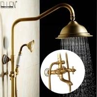 Ensemble de robinets de douche de pluie antiques avec main  mitigeur de douche mural en laiton pour salle de bain  ensemble de douche de luxe a pluie EL4006T