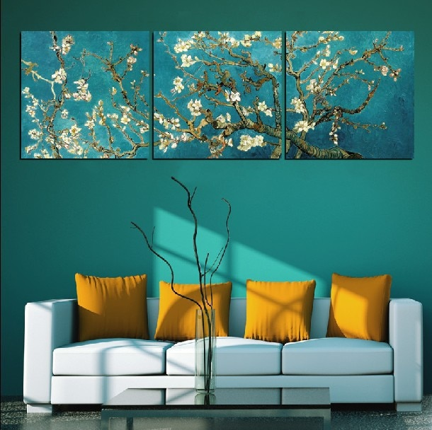 Flor de almendra de Vicent Van Gogh-pintura al óleo reproducción en lienzo impresiones arte de pared personalizado y envío directo