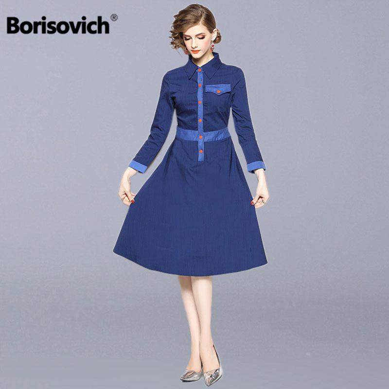 Borisovich Women Casual Long Dress New 2018 Autumn England Style Turn-down Collar A-line Elegant Slim Ladies Party Dresses N313