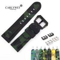 carlywet 22 24mm camo black dark green waterproof silicone rubber replacement wrist watch band strap loops for panerai luminor