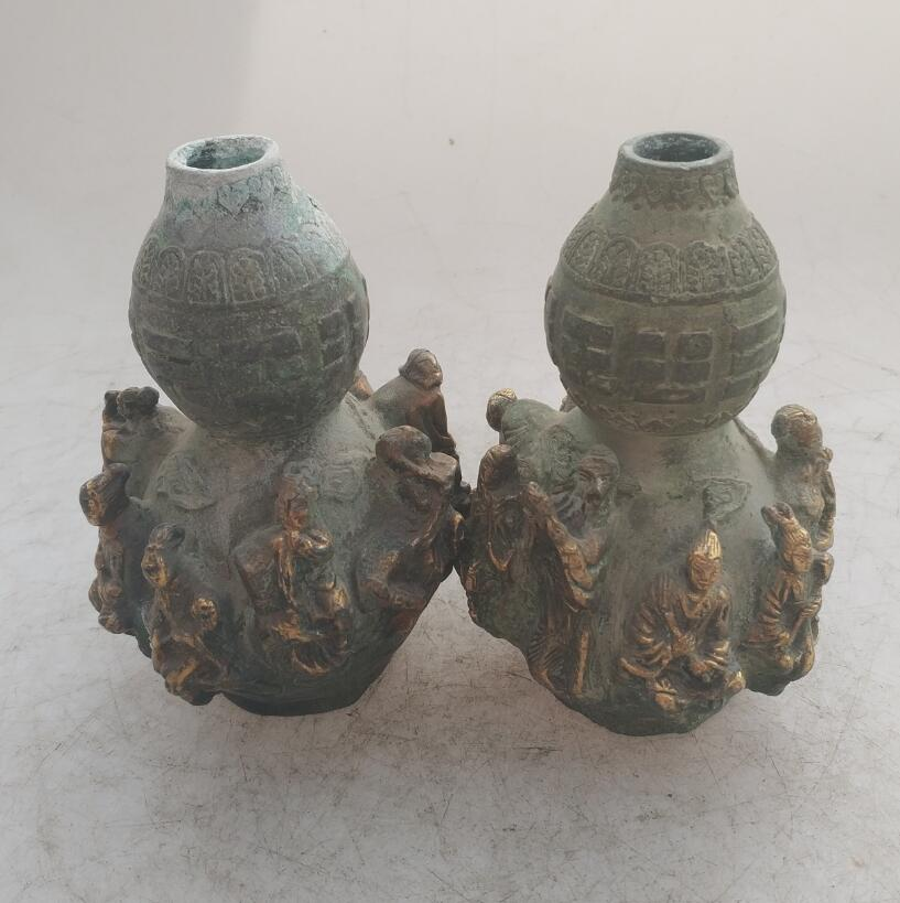 Colección China hecho a mano bronce antiguo dorado los Ocho inmortales calabaza estatua, decoración del hogar escultura antigua