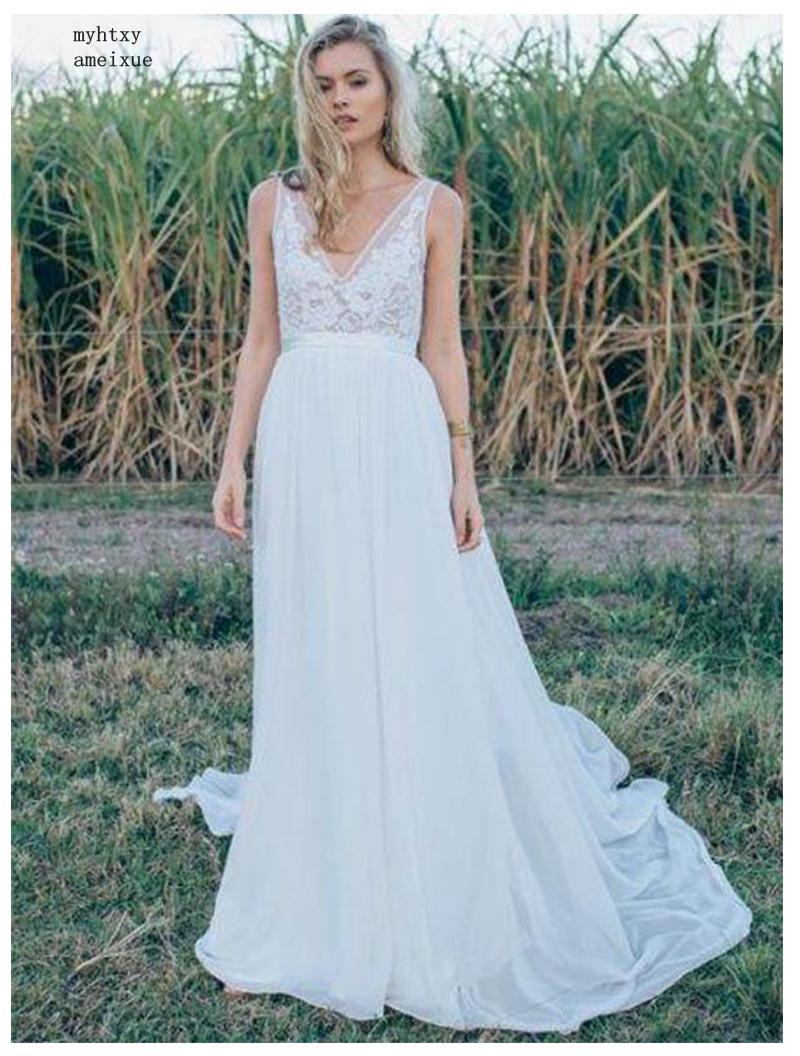 فستان زفاف مثير برقبة على شكل v ، فستان زفاف رخيص ، مصنوع حسب الطلب ، بدون ظهر ، 2020