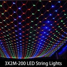Гирлянда, светодиодная, 3*2 м, 200 светодиодов, для свадьбы, сада, нового года
