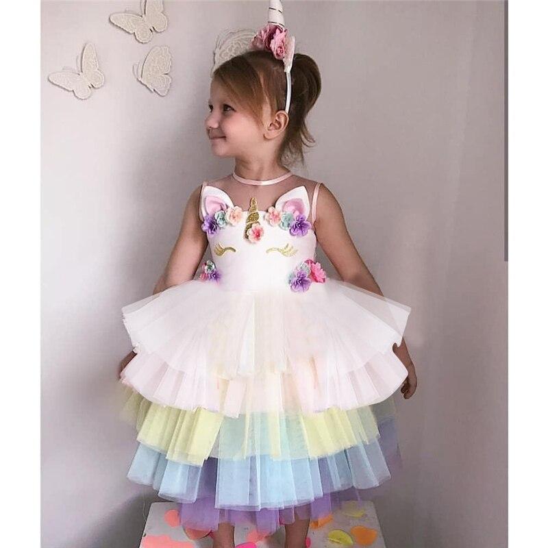 Verão Crianças dos miúdos Tutu Meninas Vestido Infantil Vestidos Roupas Roupas Juniores Fantasia de Aniversário Do Partido Dos Miúdos Roupas 3-8Years Meninas