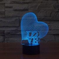 Free Shipping fantastic design 3D DECOR Love Heart shape creative night Light cool lamp as Valentine gift