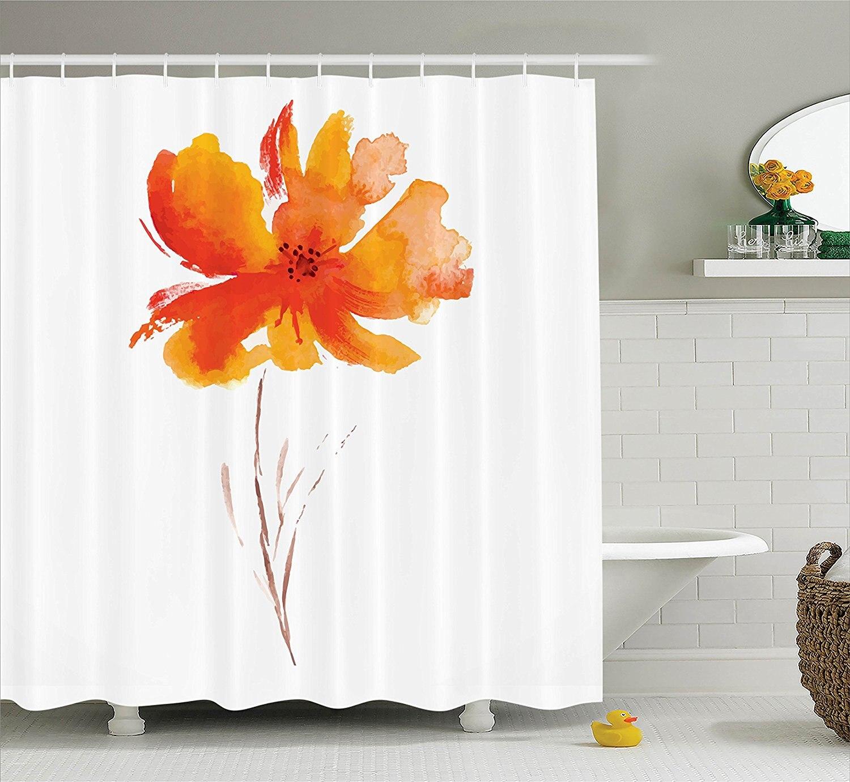 Cortina de ducha de decoración de flores de acuarela con flores de amapola, accesorios de baño blanco y naranja