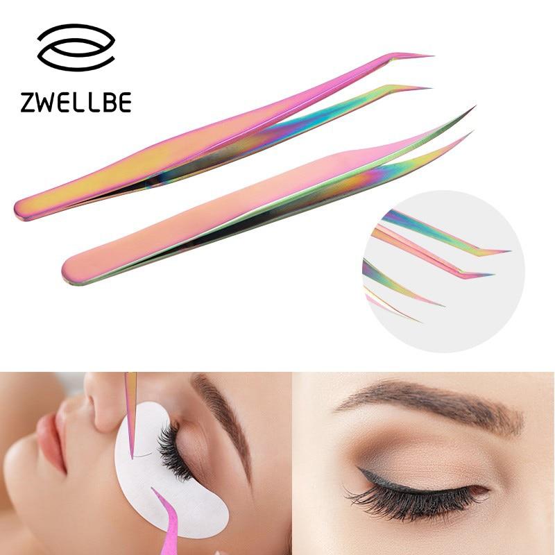Fashion Chameleon Straight Curved Eyelashes Tweezers Stainless Steel Rainbow Tweezers False Eyelash Extension Sticker Picker