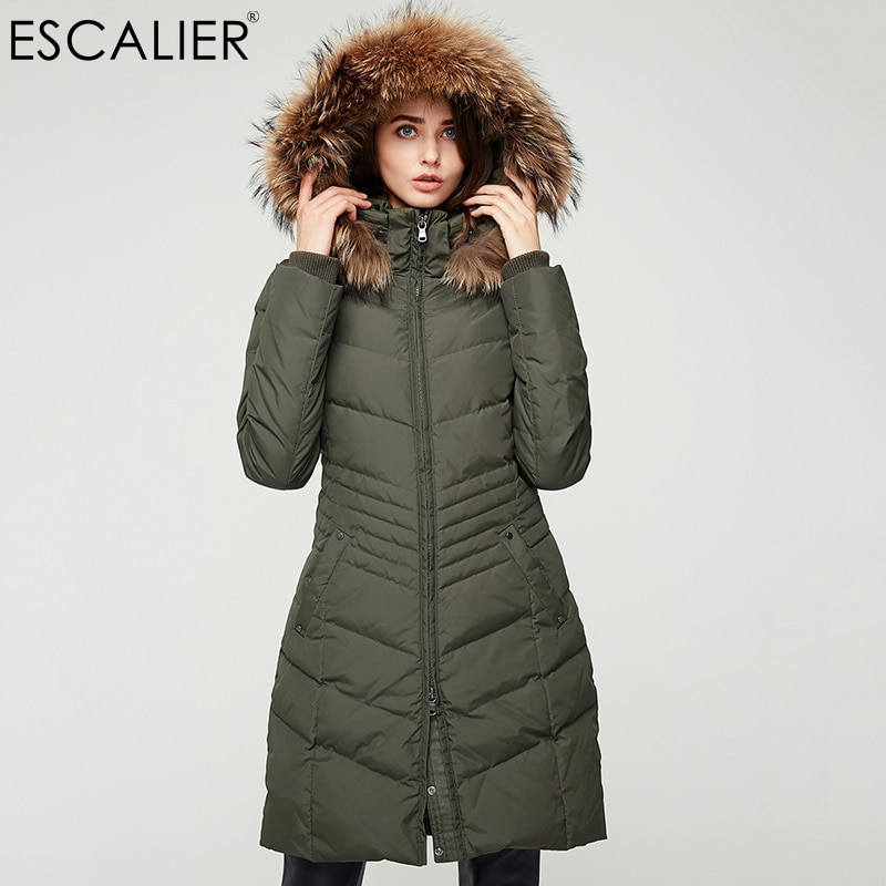 Фото - Escalier Women Down Coats Long Parka Removable Raccoon Fur Hooded Winter Thick long type Down Jacket пуховик long down jkt 1