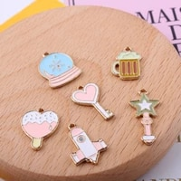 enamel necklace pink airplane crystal ball star love charm bracelet diy pendant oil drop gold metal earring jewelry accessories