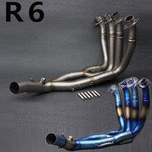 R6 tuyau de liaison déchappement système moyen   En titane inoxydable, tuyau complet pour Yamaha YZF R6 2006 2007 2008 2009 2010 11 12 13-2014