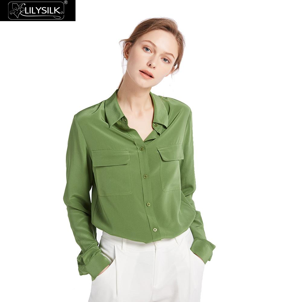 LilySilk 100 Silk Shirts Blouse Women Basic Chinese Long Sleeves Elegant Lightweight Wrinkle-resistant Ladies High Quality