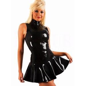 Новинка, сексуальное черное платье-мини из ПВХ, размер 2XL, внешняя молния спереди, влажный вид, без рукавов, облегающее женское виниловое лат...