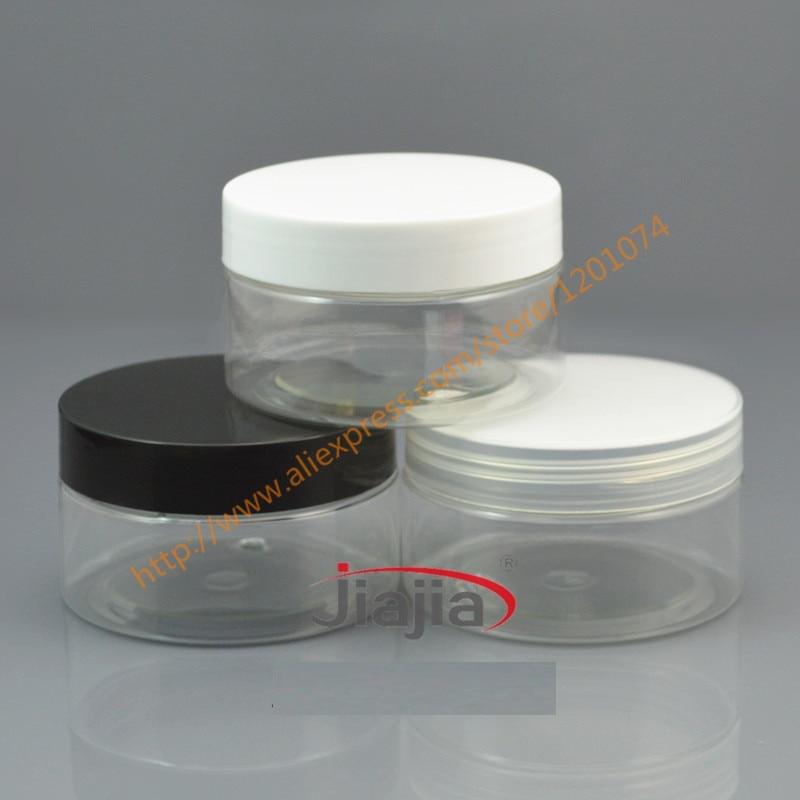 Frasco transparente de 100 ml para mascotas con tapa de PP negra/blanca/transparente, envase de crema de piel transparente 100g tarro de máscara para el cabello embalaje cosmético, base gruesa