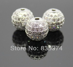 Hot sale design Pave CZ Disco Ball Crystal Spacer Beads 12mm Imitation Rhodium plated Beads