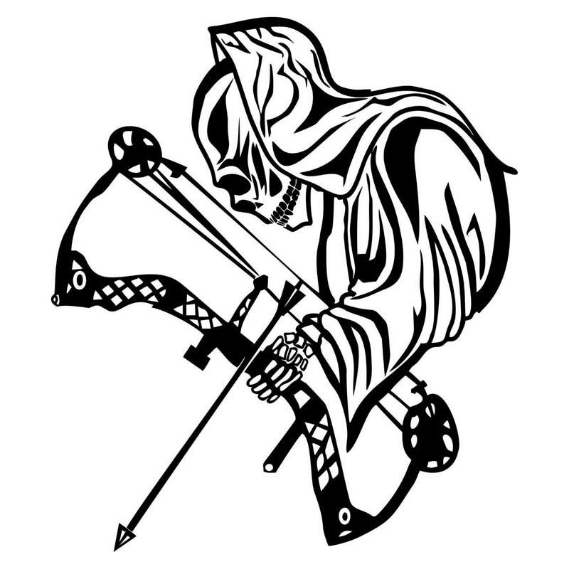 15,4*17,7 CM divertidas pegatinas de coche Death Bow caza personalizado motocicleta vinilo calcomanías negro/plata C7-1341