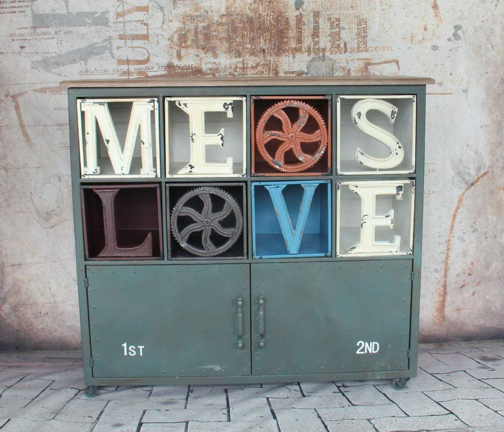 País americano para hacer el antiguo Gabinete de exhibición de estilo mediterráneo casilleros de metal de entrada de aparador de loft industrial