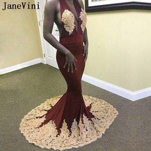 JaneVini 2019 Mermaid Burgundy Prom Dresses Sexy Deep V Neck Gold Lace Appliques Backless African Black Girls Satin Prom Dress