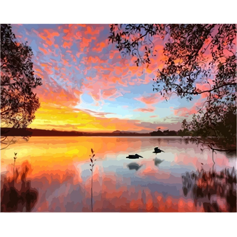 Картина по номерам DIY дропшиппинг 50x65 60x75 см Falling haze Egret fly пейзаж холст свадебное украшение искусство картина подарок